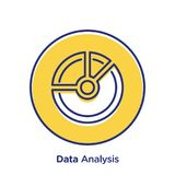 Data Analysis Badge Icon. A vector illustration of data chart icon on a white background Royalty Free Stock Images