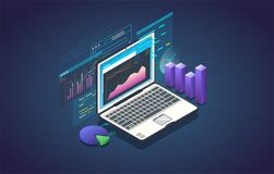 Data analysis banner. Finance analysis computer application. Isometric laptop with chart and financial growth graph. Big data and marketing analysis. Finance Royalty Free Stock Photo