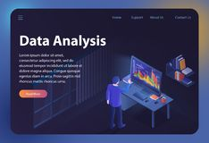 Data Analysis. Vector Isometric Illustration. royalty free illustration