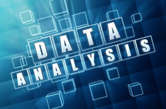 Data analysis in blue glass cubes Royalty Free Stock Images