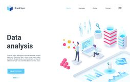 Free Data Analysis, Business Investment, Analytical Service, Studying Data Information Isometric Landing Page Stock Images - 215255894