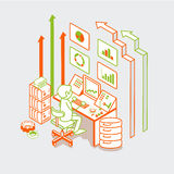Data analysis business marketing server vector fla. Isometric linear flat man working with server computer, button remote controller and arrows vector Royalty Free Stock Images