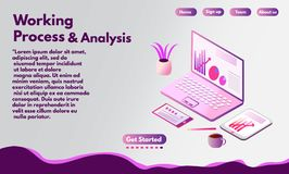 Isometric illustration of a laptop and tablet. web banner or landing page. royalty free stock images
