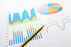Data analysis chart and graphs. Close up Royalty Free Stock Photography