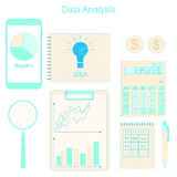Data analysis. The charts and graphs. Calculation of income. Data analysis. Phone for communication. The charts and graphs. Calculation of income. Business Stock Photography