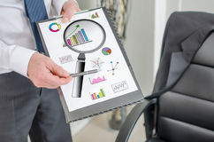 Data analysis concept on a clipboard Royalty Free Stock Images