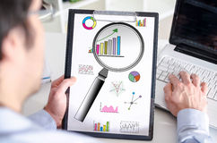 Data analysis concept on a clipboard Stock Image