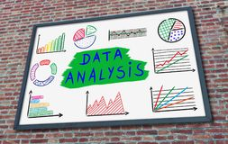 Data analysis concept on a billboard. Data analysis concept drawn on a billboard fixed on a brick wall Royalty Free Stock Photos