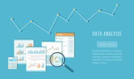 Data analysis concept. Financial Audit, SEO analytics statistics strategic report management. Charts graphics on documents. Magnifying glass, calculator Royalty Free Stock Photography