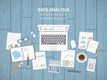 Data analysis concept. Financial Audit, SEO analytics, statistics, strategic, report, management. Charts, graphics on a screen. And documents, notebook, tablet Royalty Free Stock Images