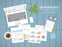 Data analysis concept. Financial Audit, SEO analytics, statistics, strategic, report, management. Charts graphics on a screen. And documents, notebook, tablet Royalty Free Stock Photos