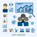 Data analysis concept flat icons composition Royalty Free Stock Photos