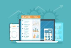 Data analysis concept. Online audit, SEO analytics, statistics, strategic, management. Charts graphics on document. Report, folder, laptop. Vector top view Stock Photography