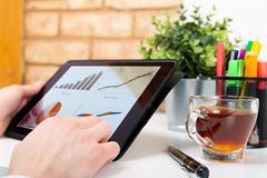 Data analysis concept shown on a tablet held by a woman. In a natural light stock photography