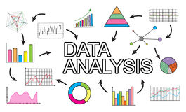Data analysis concept on white background. Data analysis concept drawn on a white background Stock Photo
