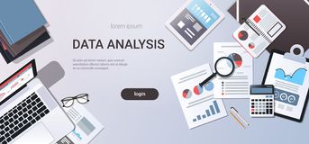 Data analysis concept workplace desk with office stuff top angle view laptop tablet paper documents report finance graph. Flat copy space horizontal vector royalty free illustration