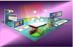 Data analysis digital technology isometric design stock photography