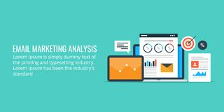 Data analysis of an email marketing campaign - email marketing analytics. Flat design marketing banner. Analytics of an email marketing campaign including royalty free illustration