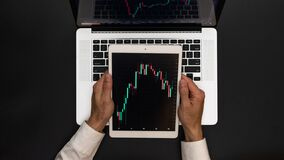 Data analysis. Finance application for sell, buy and analysis profit dividend statistics. Investment business technology