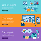 Data analysis flat banners set Royalty Free Stock Photography