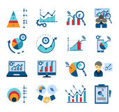 Data analysis flat icons collection Stock Image