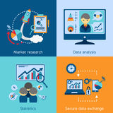 Data analysis 4 flat icons square Royalty Free Stock Photography