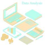 Data analysis. Flat isometric. Bright orange and turquoise. Stock Image