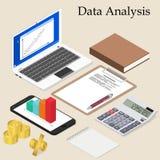 Data analysis. Flat isometric. Laptop with charts. Stock Photos