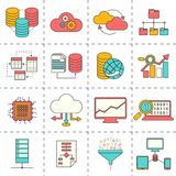 Data analysis flat line icons Stock Photos
