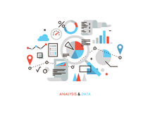 Data analysis flat line illustration Royalty Free Stock Images
