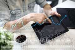Data analysis graph on virtual screen. Business finance and technology concept. Data analysis graph on virtual screen. Business finance and technology concept Stock Photo