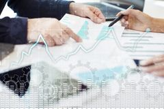 Data analysis graph on virtual screen. Business finance and technology concept. Data analysis graph on virtual screen. Business finance and technology concept Royalty Free Stock Images