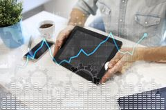 Data analysis graph on virtual screen. Business finance and technology concept. Data analysis graph on virtual screen. Business finance and technology concept Royalty Free Stock Photography