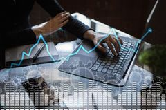 Data analysis graph on virtual screen. Business finance and technology concept. Data analysis graph on virtual screen. Business finance and technology concept Royalty Free Stock Image