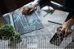 Data analysis graph on virtual screen. Business finance and technology concept. Data analysis graph on virtual screen. Business finance and technology concept Stock Photography