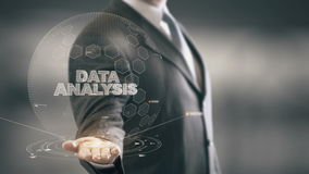 Data Analysis with hologram businessman concept. Business, Technology Internet and network concept stock footage