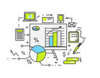 Data Analysis Icon Flat Design. Business information, finance document, chart analytic, strategy and money, statistic and development, research investment Stock Photography