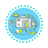 Data Analysis Icon Flat Design Stock Photos