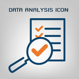 Data analysis icon. Laconic blue and orange lines on gray background. Isolated vector object Royalty Free Stock Photos