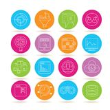 Data analysis icons. Collection of 16 data analysis icons in colorful buttons royalty free illustration