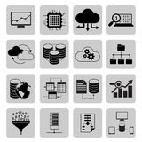 Data analysis icons. Data analysis digital cloud file server icons black set isolated vector illustration Royalty Free Stock Photos