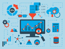 Data Analysis. Illustration of data analysis concept, flat design with icons Stock Image