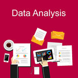 Data analysis illustration. Flat design illustration concepts for business, planning, management, business strategy, business statistics, brainstorming Stock Image