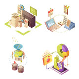 Data Analysis Isometric Compositions. With information gathering processing and check charts and statistics isolated vector illustration Stock Photos