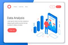Data analysis isometric concept. royalty free illustration