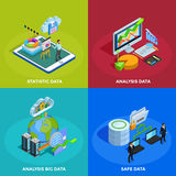 Data Analysis 4 Isometric Icons Square Royalty Free Stock Images