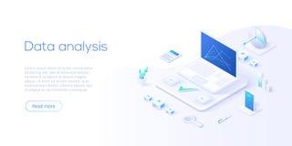 Data analysis isometric vector illustration. Abstract 3d datacenter or data center room background. Network mainframe stock illustration