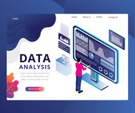 Data Analysis Landing Page Design vector illustration