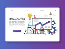 Data analysis landing page template. stock illustration