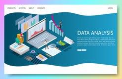 Data analysis vector website landing page design template stock illustration